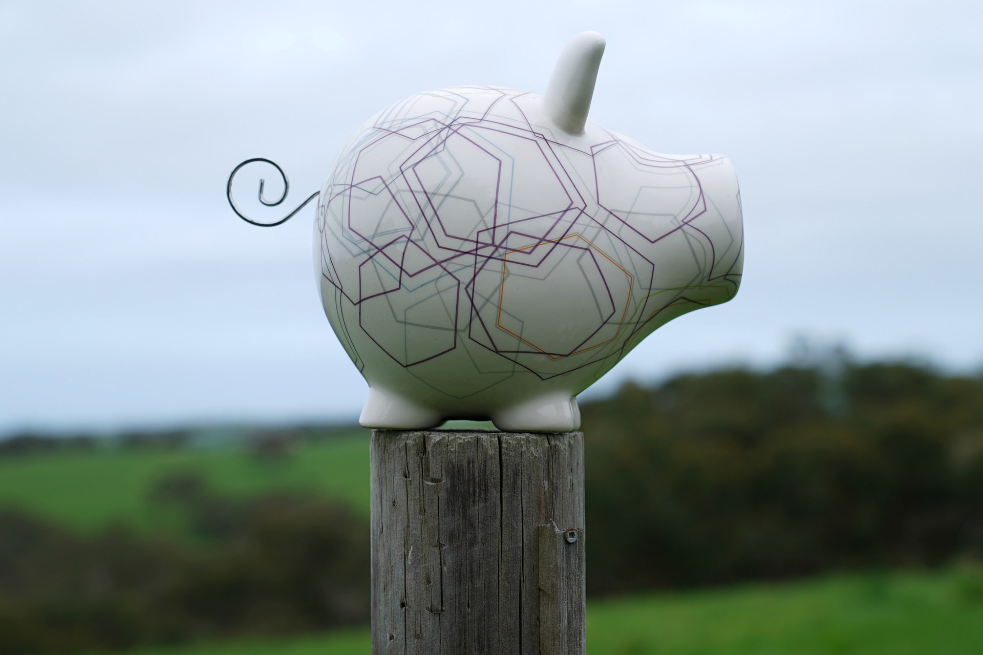 Octopoly Piggy Bank on pole with background